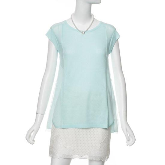 ラインメッシュパッチ、袖なしのニートNKPOEE01 ニット/セーター/韓国ファッション