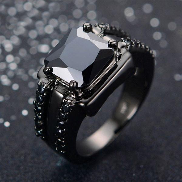 高級女性925スターリングソリッドシルバー3.6ctブラックゴールド黒オニキスウェディングジュエリーサイズ6-10を充填