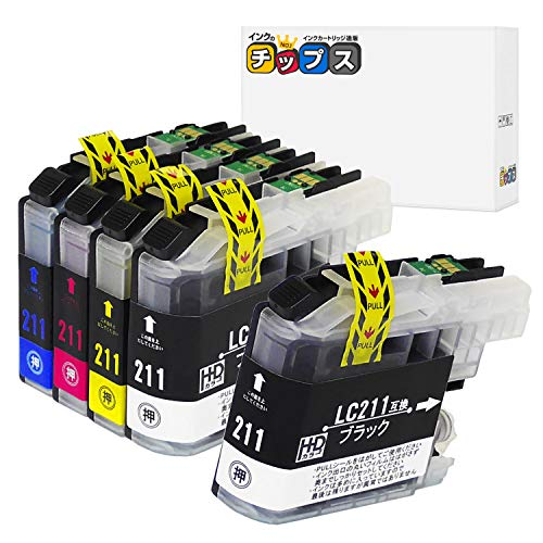 【インクのチップス】 ブラザー 用 LC211 互換インク 5本セット 【 4色セットに黒1本追加! 】 ISO14001/ISO9001認証工場生産商品 残量表示対応ICチップ 1年保証 対応機種: