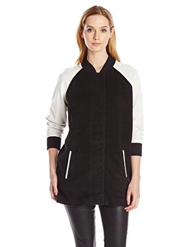 Lovers+Friends Womens Varsity Coat, Black/White, Large
