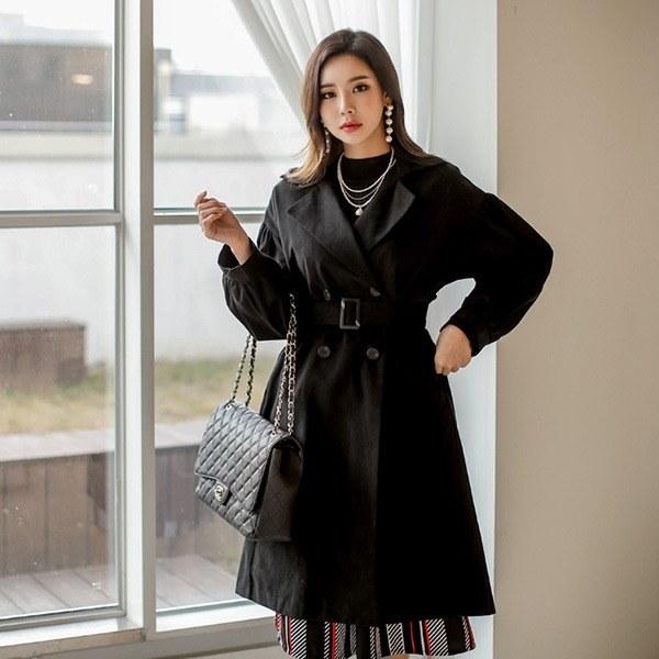 バビロンパフキルティングコートベルトSETnew 女性のコート/ 韓国ファッション/ジャケット/秋冬/レディース/ハーフ/ロング/