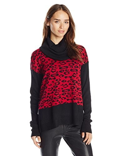 Buffalo David Bitton Womens Bejack Cowl Neck Leopard Print Pullover Sweater, Black/Red, Small