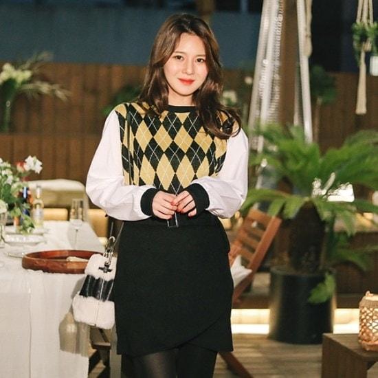 ロロテンアーガイル・ニットBL ニット/セーター/ニット/韓国ファッション