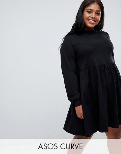 エイソス レディース ワンピース トップス ASOS DESIGN Curve long sleeve cotton smock dress
