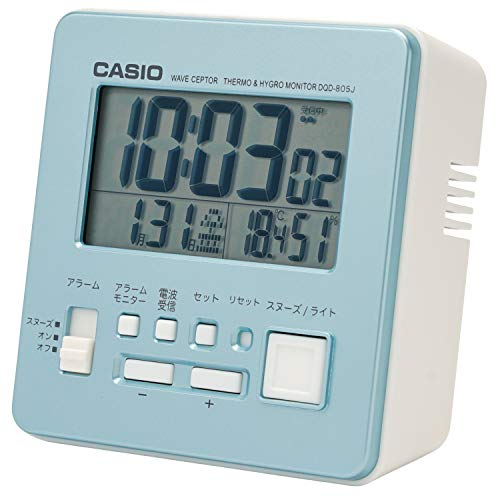 CASIO(カシオ) 目覚まし時計 電波 ブルー デジタル 温度 湿度 カレンダー 表示 DQD-805J-2JFブルー