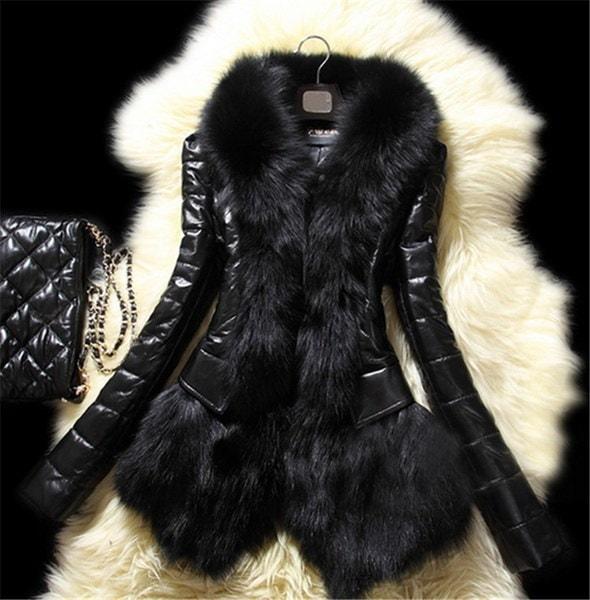 レディースウィメンズジャケットホットラグジュアリーフェイクレザースノーシューズロングスリーブファッションブラックコート