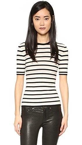 Theory Womens Leneva Sweater Tee, Ivory/Black, Large