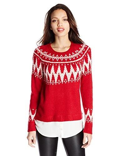 Kensie Womens Fair Isle Twofer Sweater, Red Combo, Medium