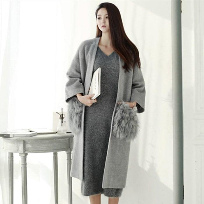韓国ファッションファーポケット付きロングジャケット