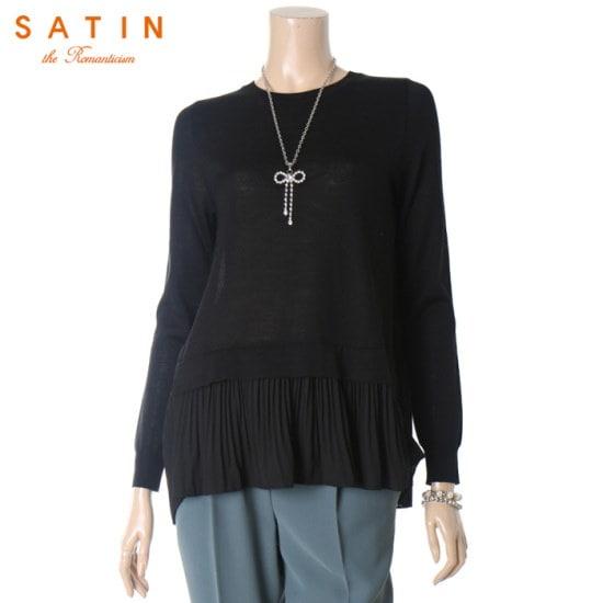 サティンの裏面の小じわ配色のニートS153S954 ロングニット/ルーズフィット/セーター/韓国ファッション
