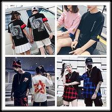 男女兼用 Tシャツ/レデイースファッション/体型カバー/Tシャツ 原宿風/半袖Tシャツ/長袖Tシャツ/Tシャツワンピース/韓国ファッション/ワンピース/ショートパン/ツさまざまな/恋人のためのTシャツ
