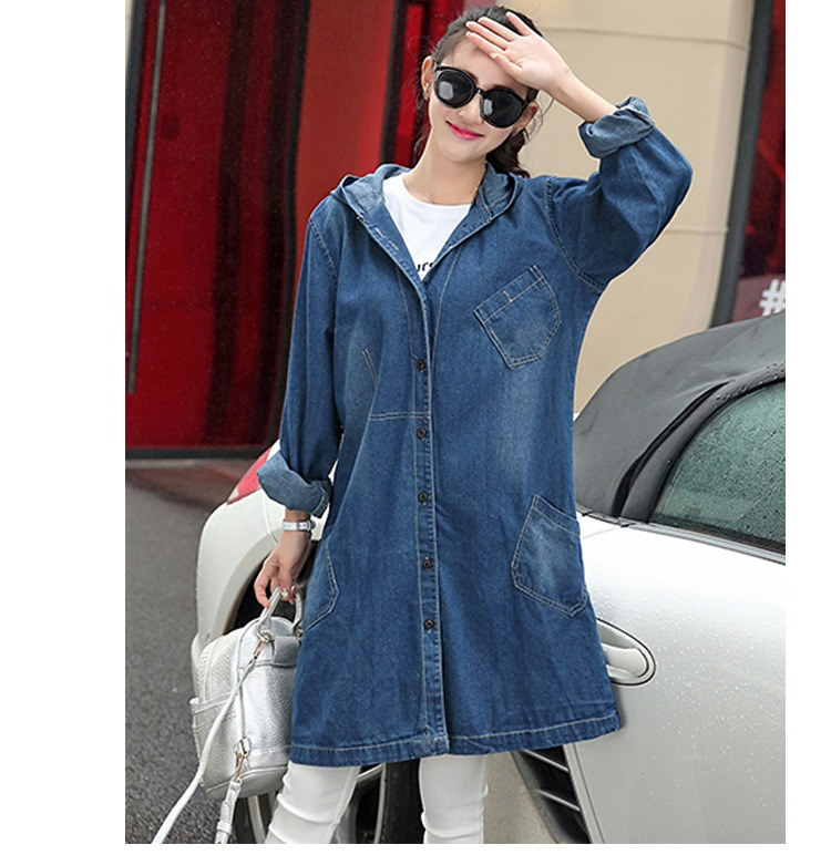 S-2xl女性の長いデニムジャケット特大コート秋新しいフード付きジーンズジャケット基本コート緩いアウターオーバーコート