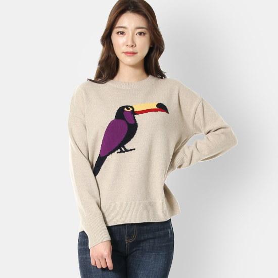 ルシャプLeShopグラフィック前後オンバル・ニットLI1KP601 パターンニット/ニット/セーター/韓国ファッション