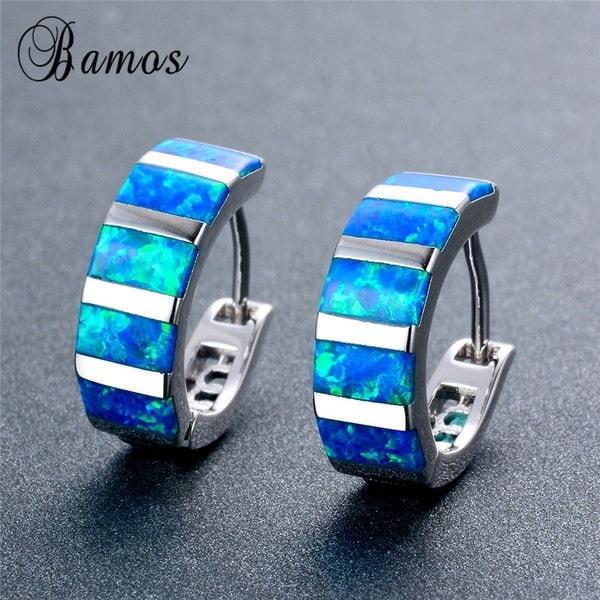Bamas絶妙な長方形ブルーファイアーオパールフープイヤリング925スターリングシルバーウェディングジュエリー(カラー:B