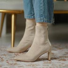 韓国風サイドジッパーハイヒールブーツ女性気質ストレッチショートブーツ