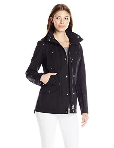 Moose Knuckles Womens Spring Parka with Hood, Black, Small
