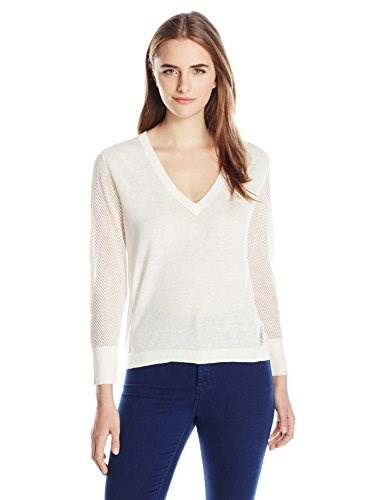 Michael Stars Womens Lightweight Linen Long Sleeve Sweater with Mesh Detail, Ivory, Large