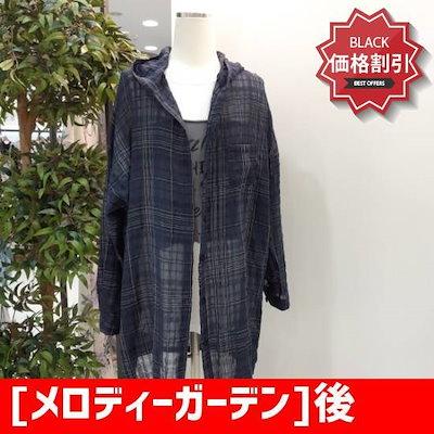 [メロディーガーデン]後、英文フード南方M8M6B03のネイビー /ソリ/ッドシャツ/ブラウス/ 韓国ファッション