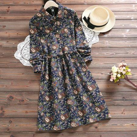 フラワーパターン起毛ワンピースkorea fashion style