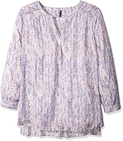 NYDJ Womens Plus-Size Braided Trim Henley Tunic, Featherly Camille Barely Pink, 2X