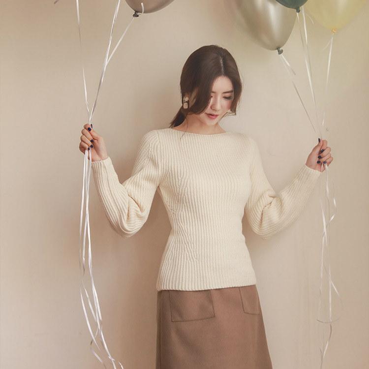 韓国 ファッションサイトNo.1 [CHICHERA]★送料無料★/デイリーラウンドネックニット