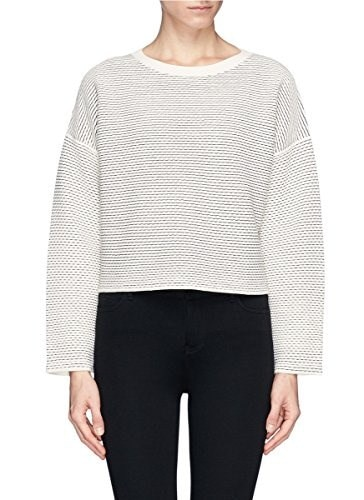 Theory Tamrist CS Prosecco Sweater in Ivory Black Striped - Large