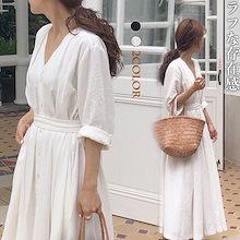 2019韓国ファッション 春のシャツワンピース ボディラインがキレイに見える美シルエットフレアワンピース