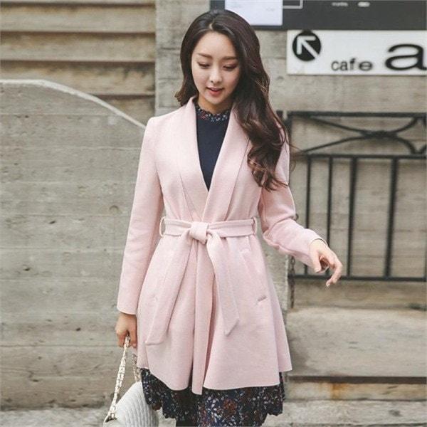OTI523フェミニンベルトショールカラウールのコート 女性のコート/ 韓国ファッション/ジャケット/秋冬/レディース/ハーフ/ロング/