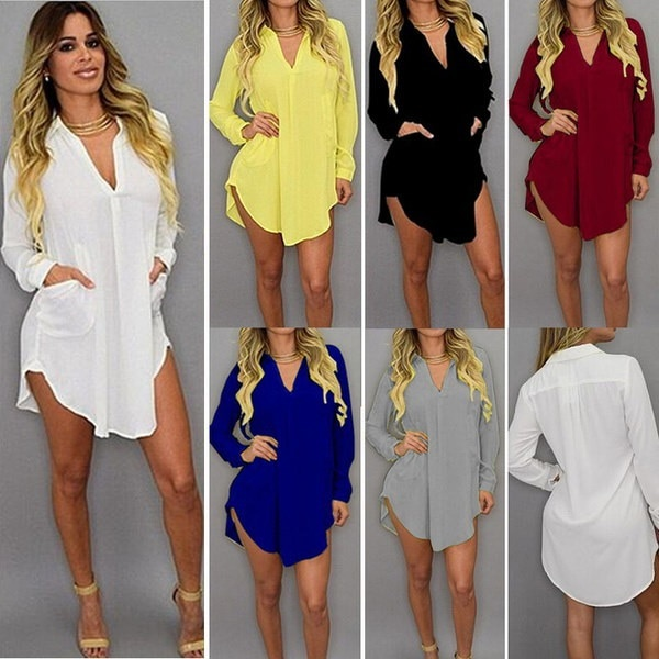 レディースファッションロングスリーブブラウスルーズTシャツ不規則なポケットドレス