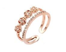 ダブルライン ダイヤモンドcz ビジュー フリーサイズ リング K18 ピンクゴールド フラワー SILVER レディース 指輪