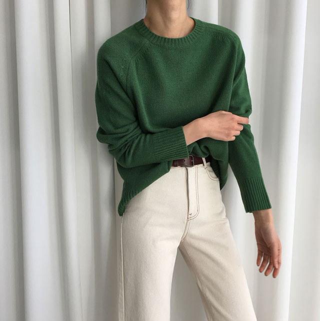 [ラルム】フルラウンドニット3col korea fashion style