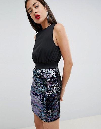 アックスパリ レディース スカート ボトムス AX Paris 2-in-1 Dress With Sequin Skirt