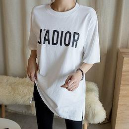 ジャドルレタリングロングTシャツ / ゆったりしたシルエットとスリットデザインがポイントになる! ヒップを隠す丈感で体型カバー抜群~ 3色2size