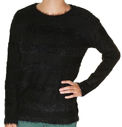 Joseph A. Womens Pullover Eyelash Sweater Large Black Stripe
