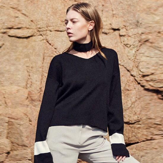 ヤンソティンVNECK SHORT KNITBLACK ニット/セーター/ニット/韓国ファッション