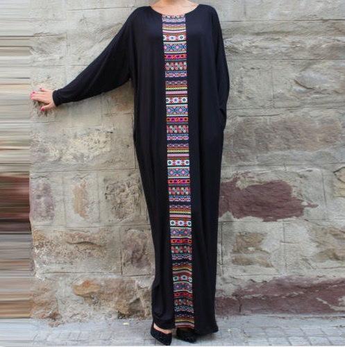 女性ファッションバットウィングロングスリーブクルーネックマキシロングドレスアバヤプラスサイズイスラム教徒のドレス