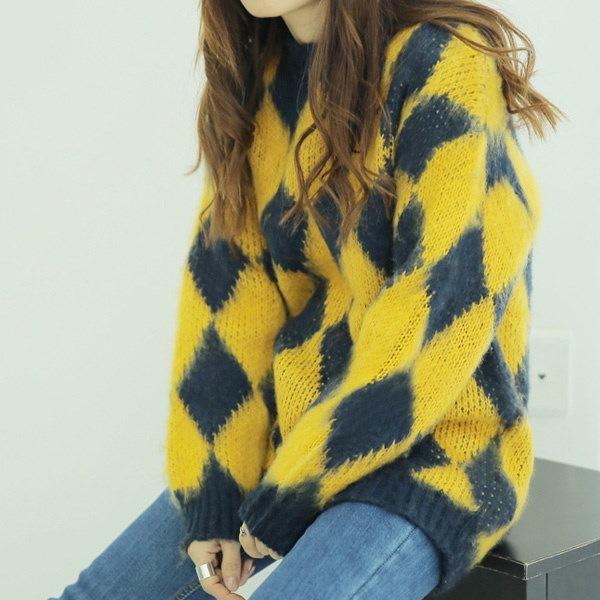 【海外直送】ロンブスパターンニット FREE サイズ 韓国ファッション レディースファッション