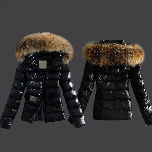 新しいレディースブラックアウターウェアスリムティーンオーバーコートレディースフォックスファーパーカカジュアルフード付きジャケットコート