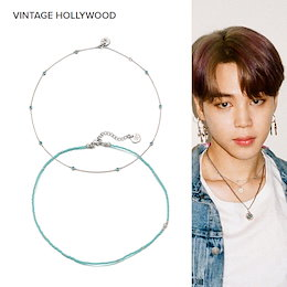 [VINTAGE HOLLYWOOD]💜人気💜 BTS jimin 着用 [SET] Crystal Seed n Candy Beads Necklace Blue ジミン 韓国ファッション