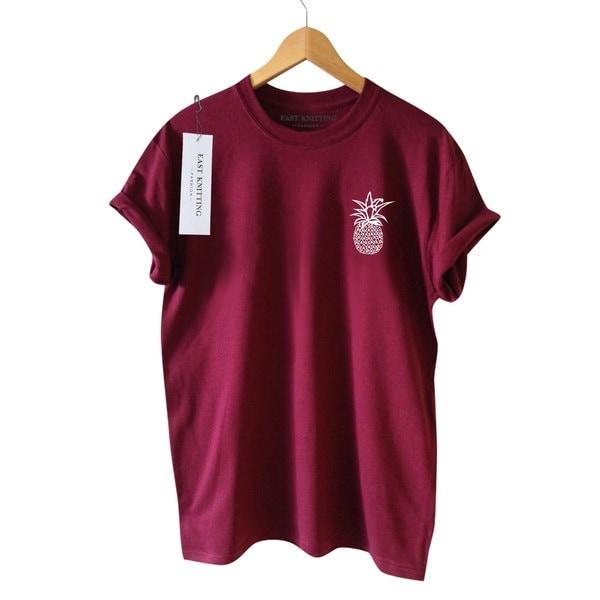 夏の女性のカジュアルなTシャツ半袖パイナップルプリントガールズ4色のかわいいファッションTシャツ