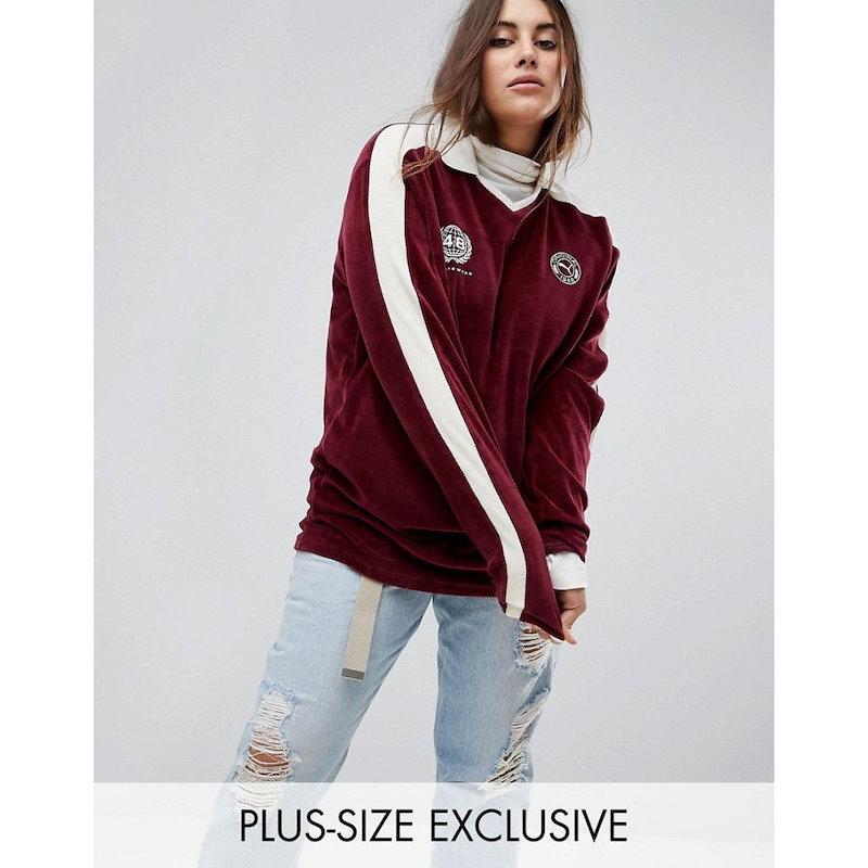 プーマ レディース トップス【Puma Exclusive To ASOS Plus Velvet Football Jersey In Burgundy】Burgundy