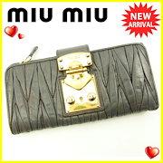 83813c1418a6 ミュウミュウ miumiu 長財布 二つ折り 財布 レディース マテラッセ グレー×ゴールド PVC×レザー