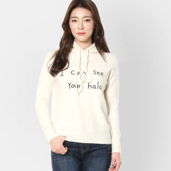 ルシャプLeShop前身頃レタリングフードニットLI1KP557 パターンニット/ニット/セーター/韓国ファッション