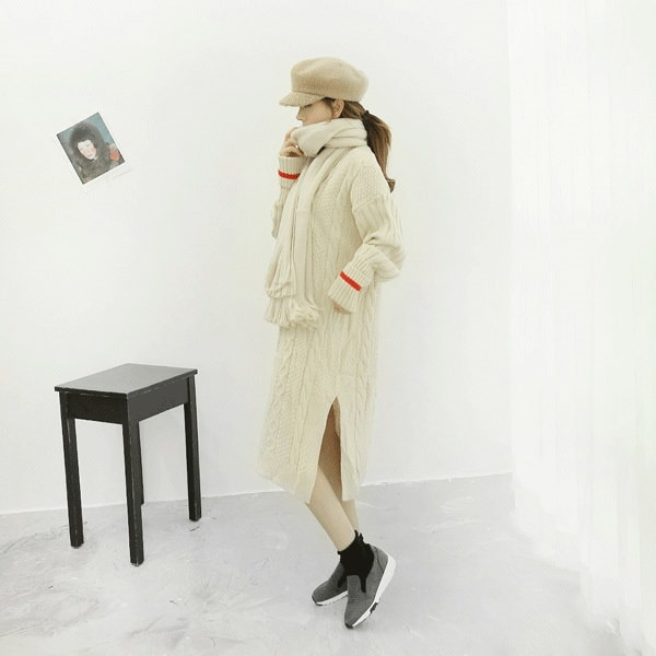 【海外直送】袖ライン入り編みニットロングワンピース FREE サイズ 韓国ファッション レディースファッション