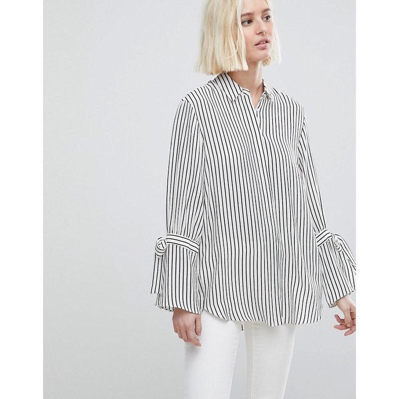 リバーアイランド レディース トップス ブラウス・シャツ【River Island Tie Sleeve Stripe Shirt】White stripe