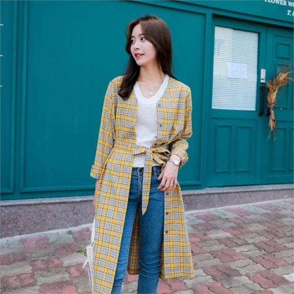 チェック・ローブカディゴン 女性ニット/カーディガン/韓国ファッション