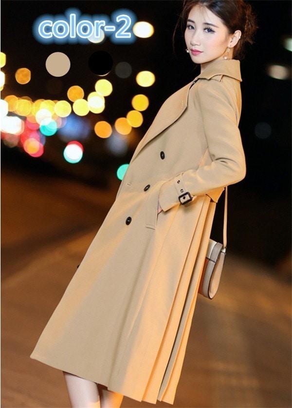 コートレディース トレンチコート ロング プリーツ 無地 上質 ファッション 着心地よい 春新作 通勤 きれいめ春コート レディースコート