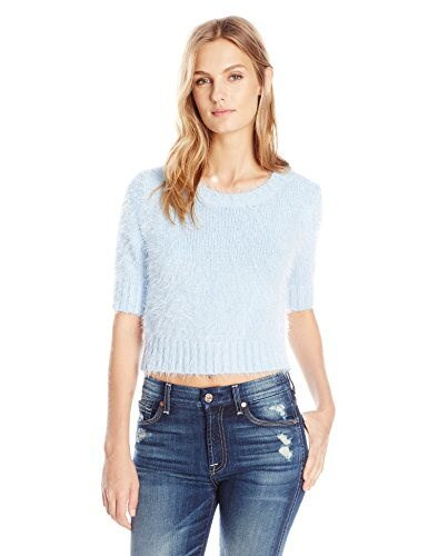 Glamorous Womens Short Sleeve Cropped Crew Neck Sweater, Light Blue, Small