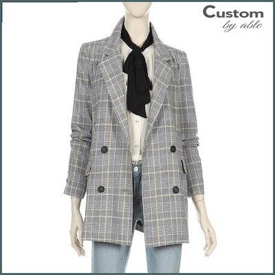 [カスタムのエイブル]シークチェックダブルボタンジャケット[C1903JK015A] /テーラードジャケット/ 韓国ファッション