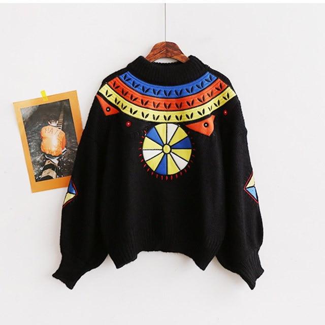 [B11408]ユニークパフスリーブ半極性刺繍ニットティーデイリールックデイリーバックkorea women fashion style